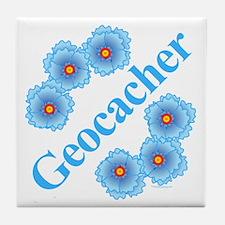 Geocacher Blue Flowers Tile Coaster