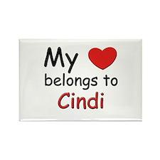 My heart belongs to cindi Rectangle Magnet