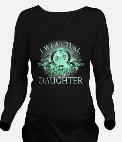 I Wear Teal for my D Long Sleeve Maternity T-Shirt