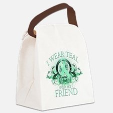I Wear Teal for my Friend (floral Canvas Lunch Bag