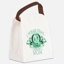 I Wear Teal for my Mom (floral) Canvas Lunch Bag