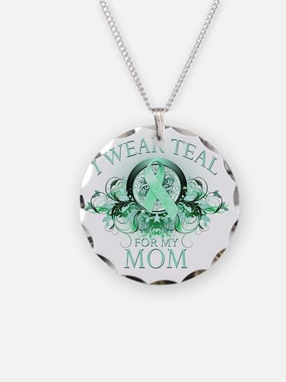 I Wear Teal for my Mom (flor Necklace