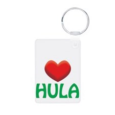 2-i love hula white Keychains