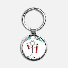 LAB TECH STICKMAN Round Keychain