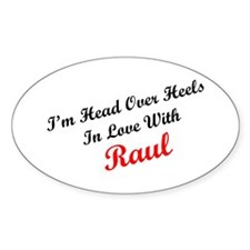 In Love with Raul Oval Decal