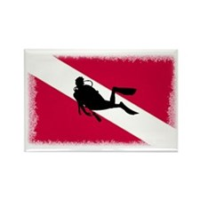 Scuba and Flag Rectangle Magnet