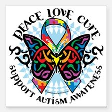 "Autism-Butterfly-Tribal- Square Car Magnet 3"" x 3"""
