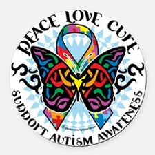 Autism-Butterfly-Tribal-2 Round Car Magnet