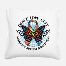 Autism-Butterfly-Tribal-2 Square Canvas Pillow
