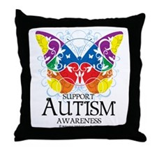 Autism-Butterfly Throw Pillow