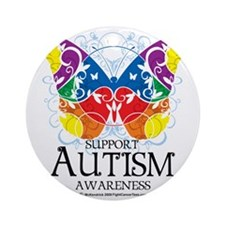 Autism-Butterfly Round Ornament