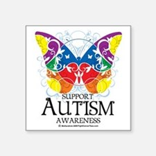 """Autism-Butterfly Square Sticker 3"""" x 3"""""""