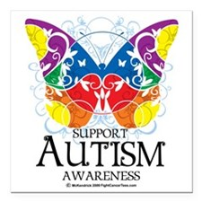 """Autism-Butterfly Square Car Magnet 3"""" x 3"""""""