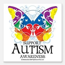 "Autism-Butterfly Square Car Magnet 3"" x 3"""