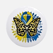 Down-Syndrome-Butterfly-Tribal-2-bl Round Ornament