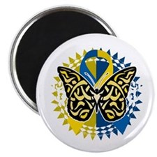 Down-Syndrome-Butterfly-Tribal-2-blk Magnet