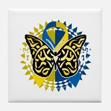 Down-Syndrome-Butterfly-Tribal-2-blk Tile Coaster