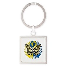 Down-Syndrome-Butterfly-Tribal-2-b Square Keychain