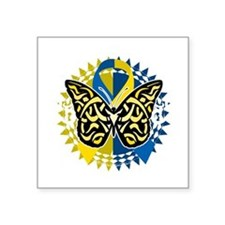 "Down-Syndrome-Butterfly-Tri Square Sticker 3"" x 3"""