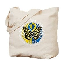 Down-Syndrome-Butterfly-Tribal-2-blk Tote Bag