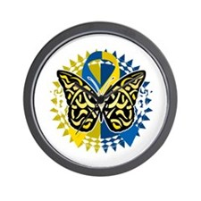 Down-Syndrome-Butterfly-Tribal-2-blk Wall Clock