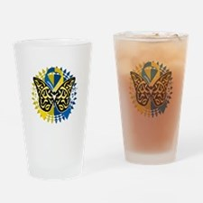 Down-Syndrome-Butterfly-Tribal-2-bl Drinking Glass