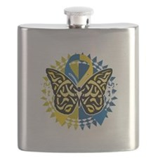 Down-Syndrome-Butterfly-Tribal-2-blk Flask