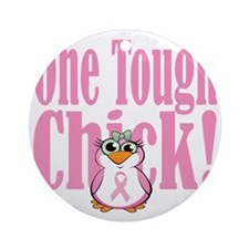 BC-One-Tough-Chick-blk Round Ornament