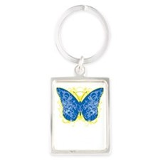 Down-Syndrome-Butterfly-blk Portrait Keychain