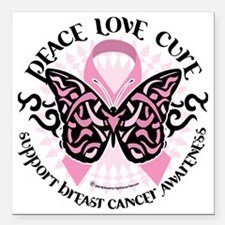 "Breast-Cancer-Butterfly- Square Car Magnet 3"" x 3"""