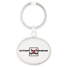 Stop Cloning Now Oval Keychain