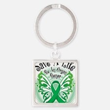 Organ-Donor-Butterfly-3 Square Keychain