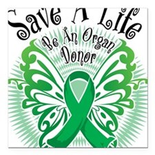 """Organ-Donor-Butterfly-3 Square Car Magnet 3"""" x 3"""""""