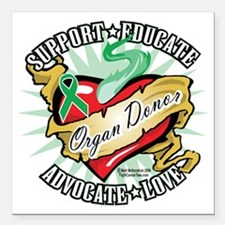 "Organ-Donor-Classic-Tatt Square Car Magnet 3"" x 3"""