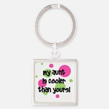 myauntiscoolerthanyours_pinkcircle Square Keychain