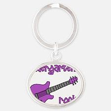 kindergartenrocks_purple Oval Keychain