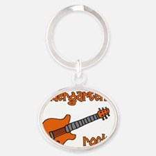kindergartenrocks_orange Oval Keychain