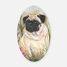 Pug by Dawn Secord Oval Car Magnet