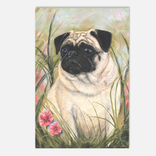 Pug by Dawn Secord Postcards (Package of 8)