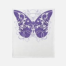 Alzheimers-Butterfly-blk Throw Blanket
