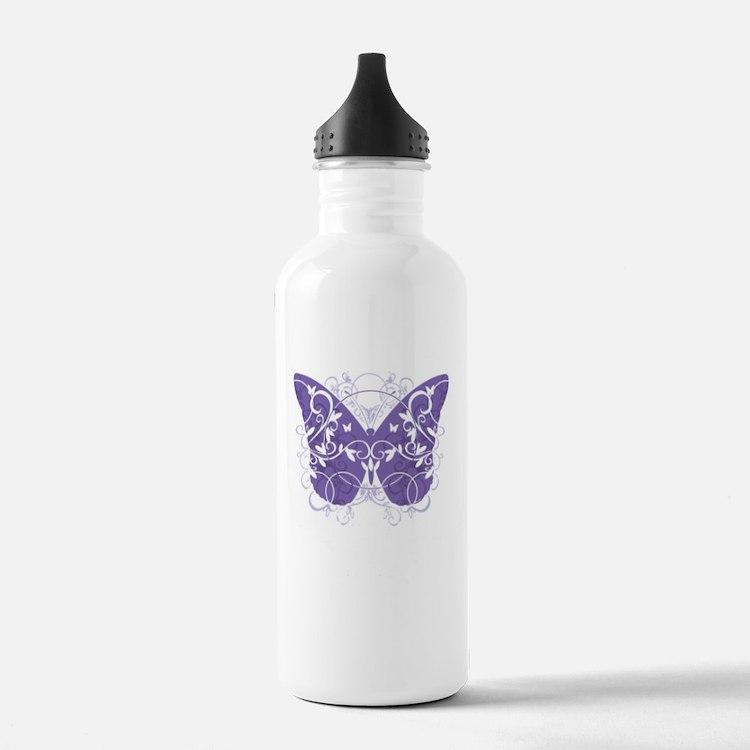 Alzheimers-Butterfly-b Sports Water Bottle