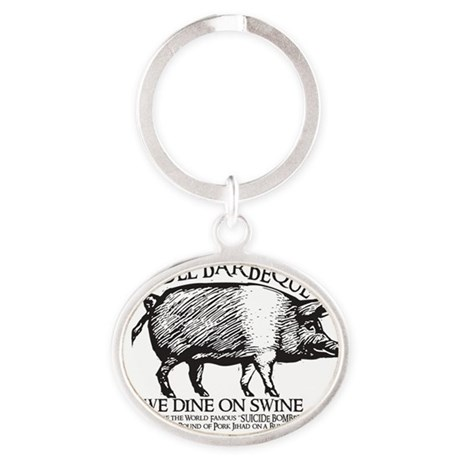 infidel barbeque Oval Keychain