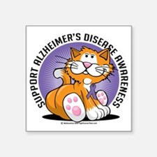 "Alzheimers-Cat Square Sticker 3"" x 3"""