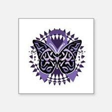 "Alzheimers-Butterfly-Tribal Square Sticker 3"" x 3"""