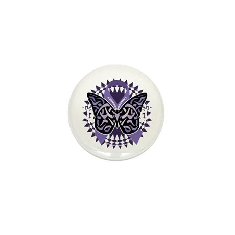Alzheimers-Butterfly-Tribal-2-blk Mini Button