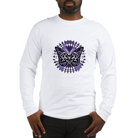 Alzheimers-Butterfly-Tribal-2- Long Sleeve T-Shirt