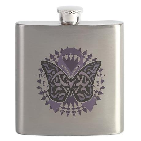 Alzheimers-Butterfly-Tribal-2-blk Flask