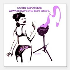 """court_reporting_briefs Square Car Magnet 3"""" x 3"""""""