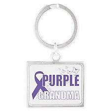 Alzheimers-Purple-For-GRANDMA-2 Landscape Keychain