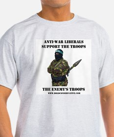 Liberals Support The Troops Ash Grey T-Shirt